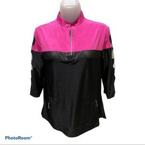 Jamie Sadock Golf 3/4 Sleeve Top Black/Pink Size M